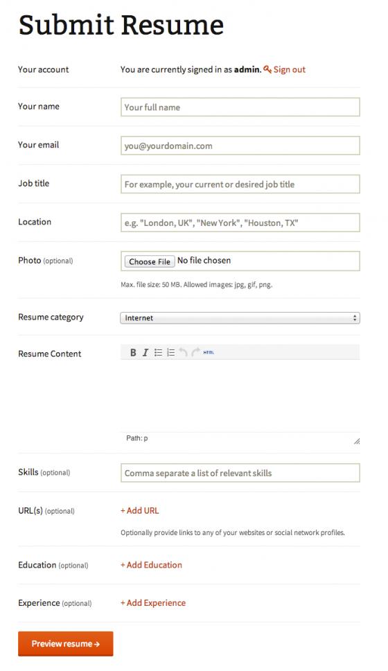 Job Resume Form