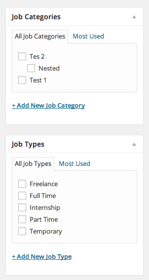 Categories and job type