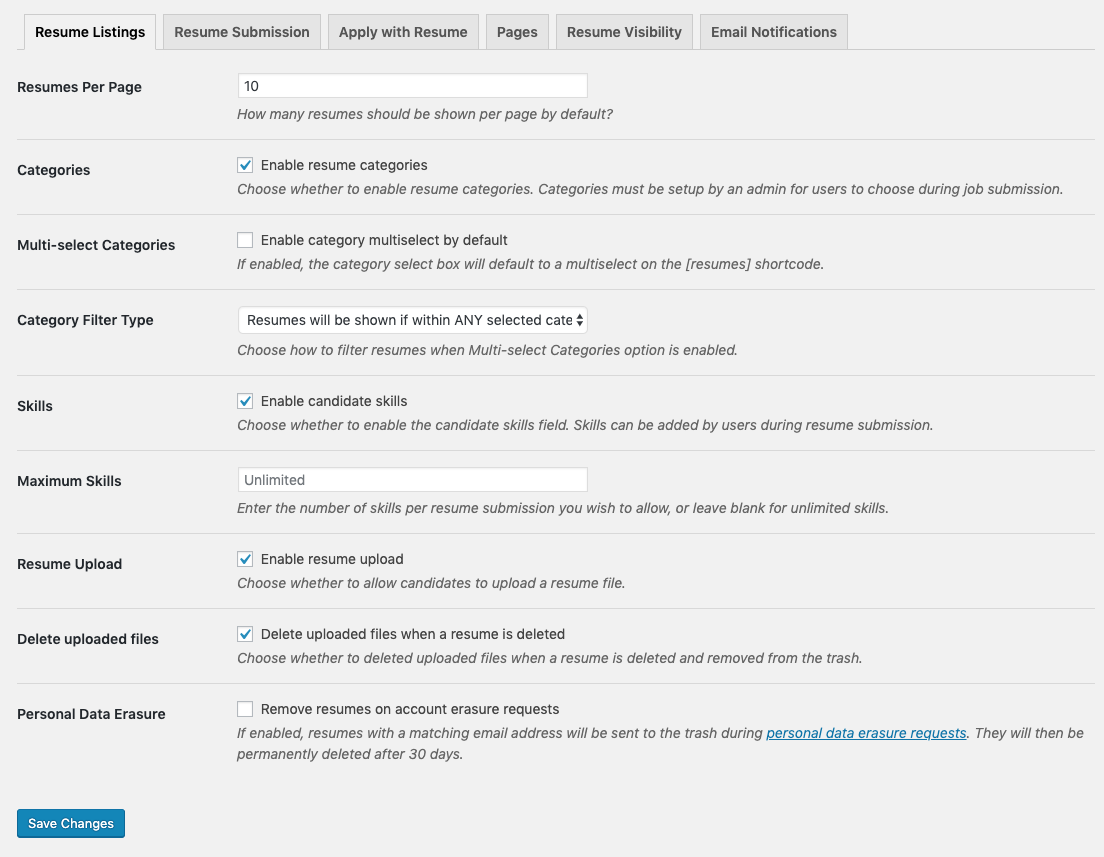 Resume Manager settings page