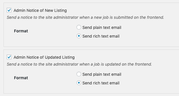 Default email notification settings for WP Job Manager