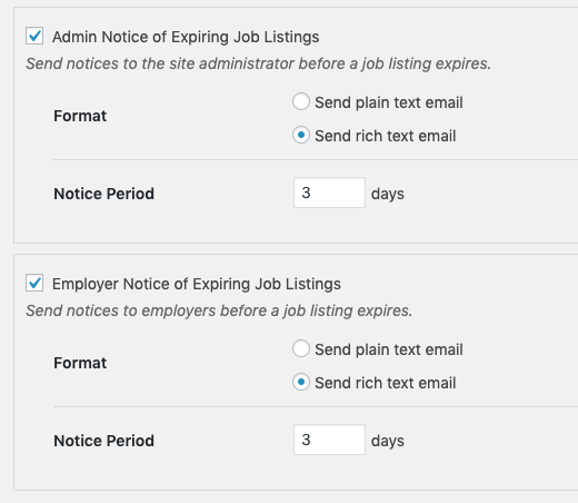 Job Expiry email notification settings for WP Job Manager