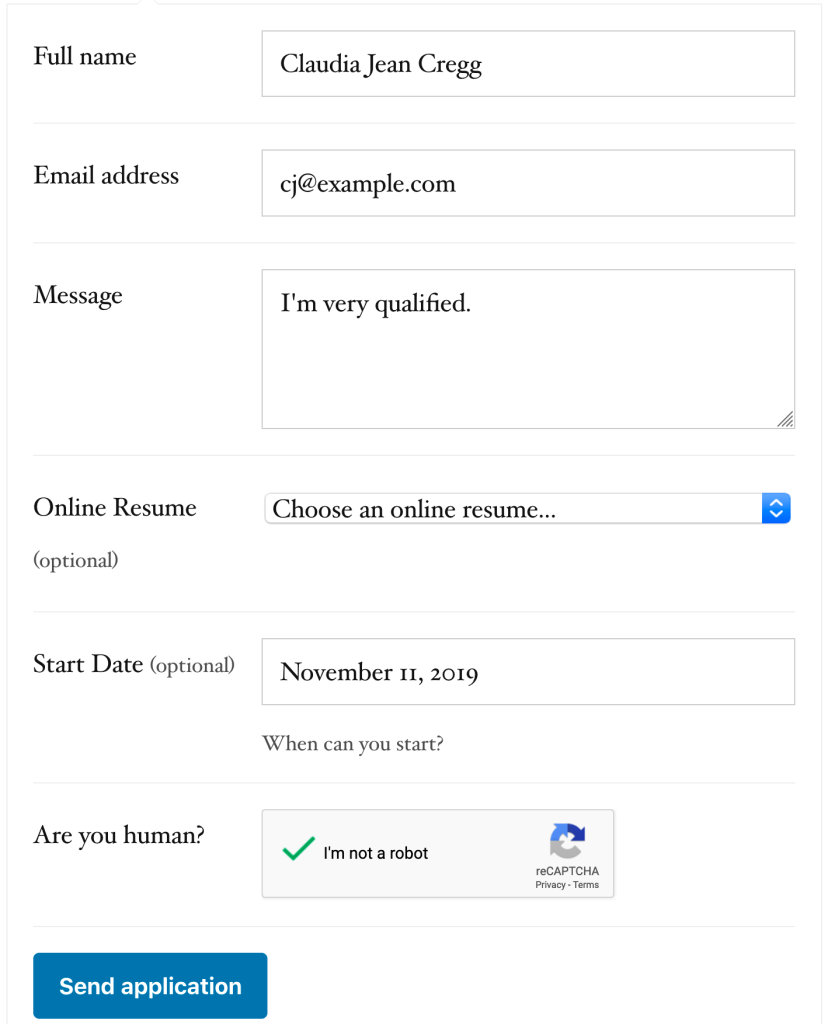 The job application form with a new date field and reCAPTCHA